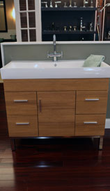 bathroom counter and cabinets
